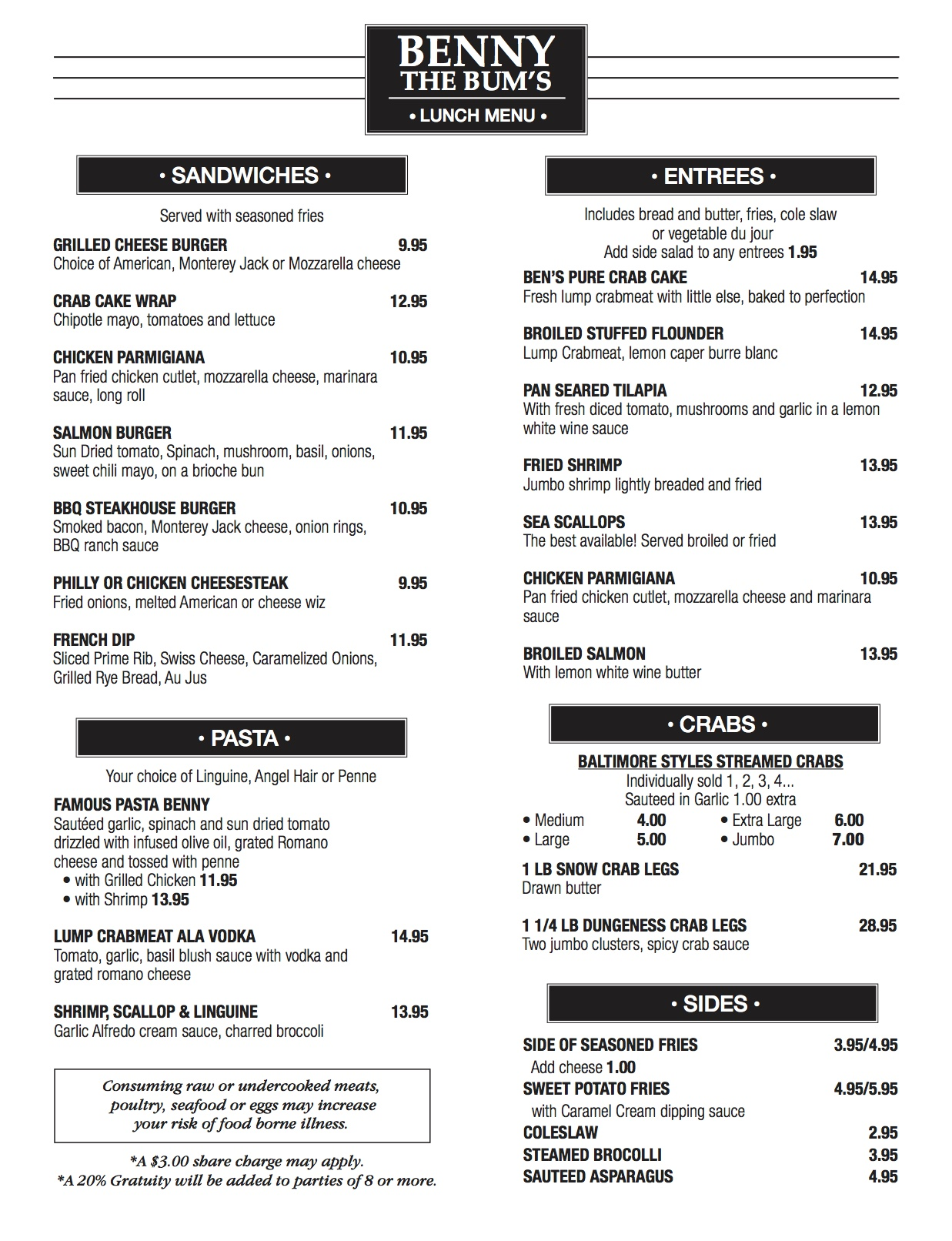Benny NE Take out Lunch Menu